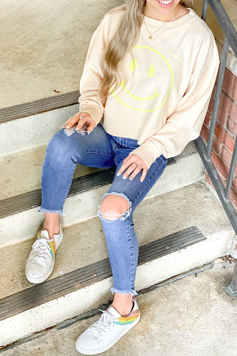 Smiley Cropped Sweatshirt In Corded Knit 80581