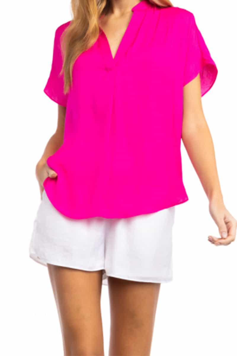 ss blouse in flame pink 88917