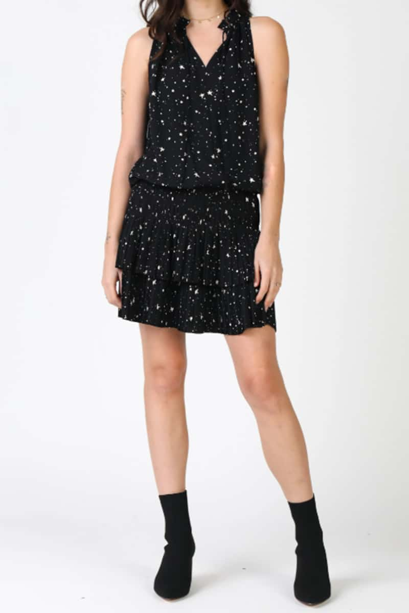Star Print Pleated Mini 62689