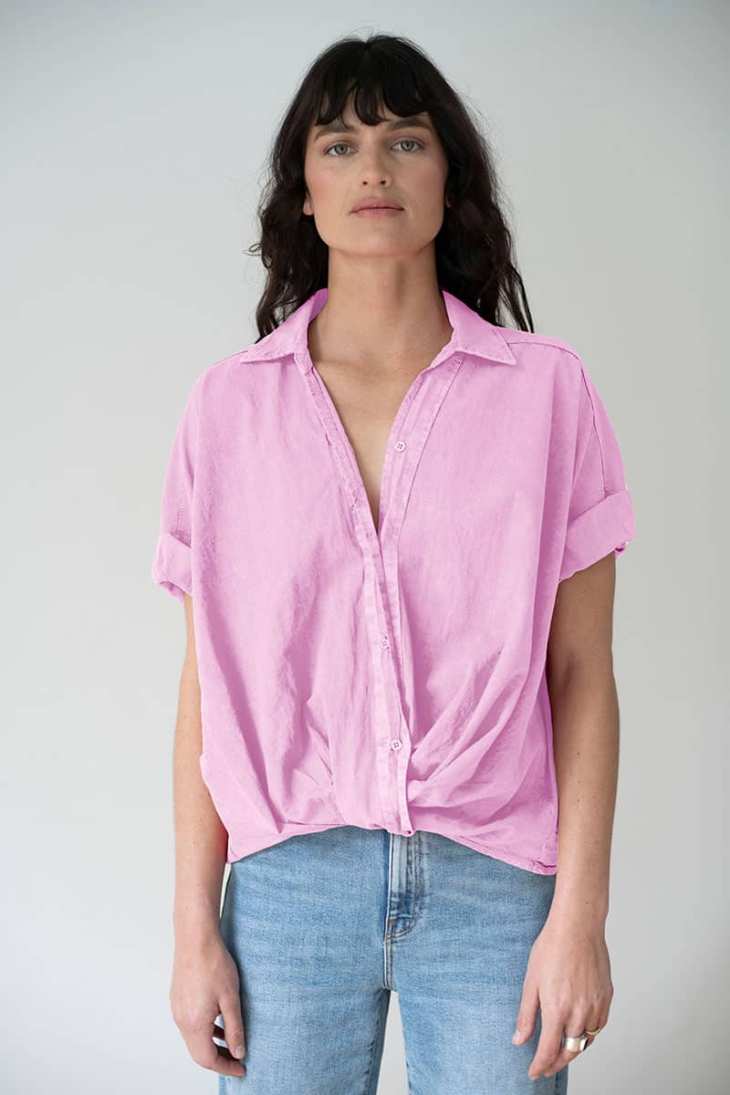 Stateside 100 Cotton Poplin Ss Twist Front Top In Pafait Pink 70727