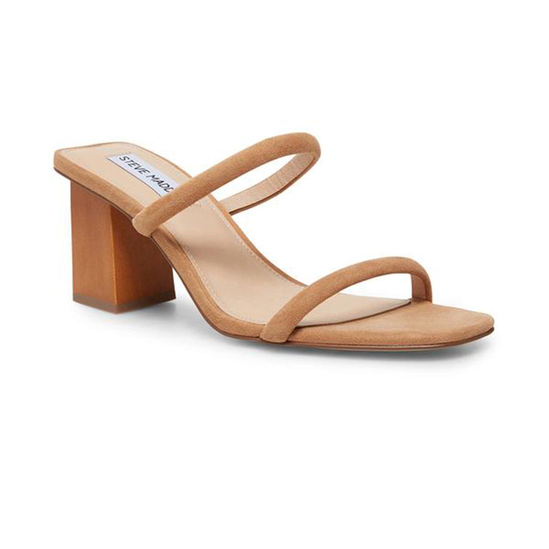steve madden honey chunky heel sandal in tan 82580