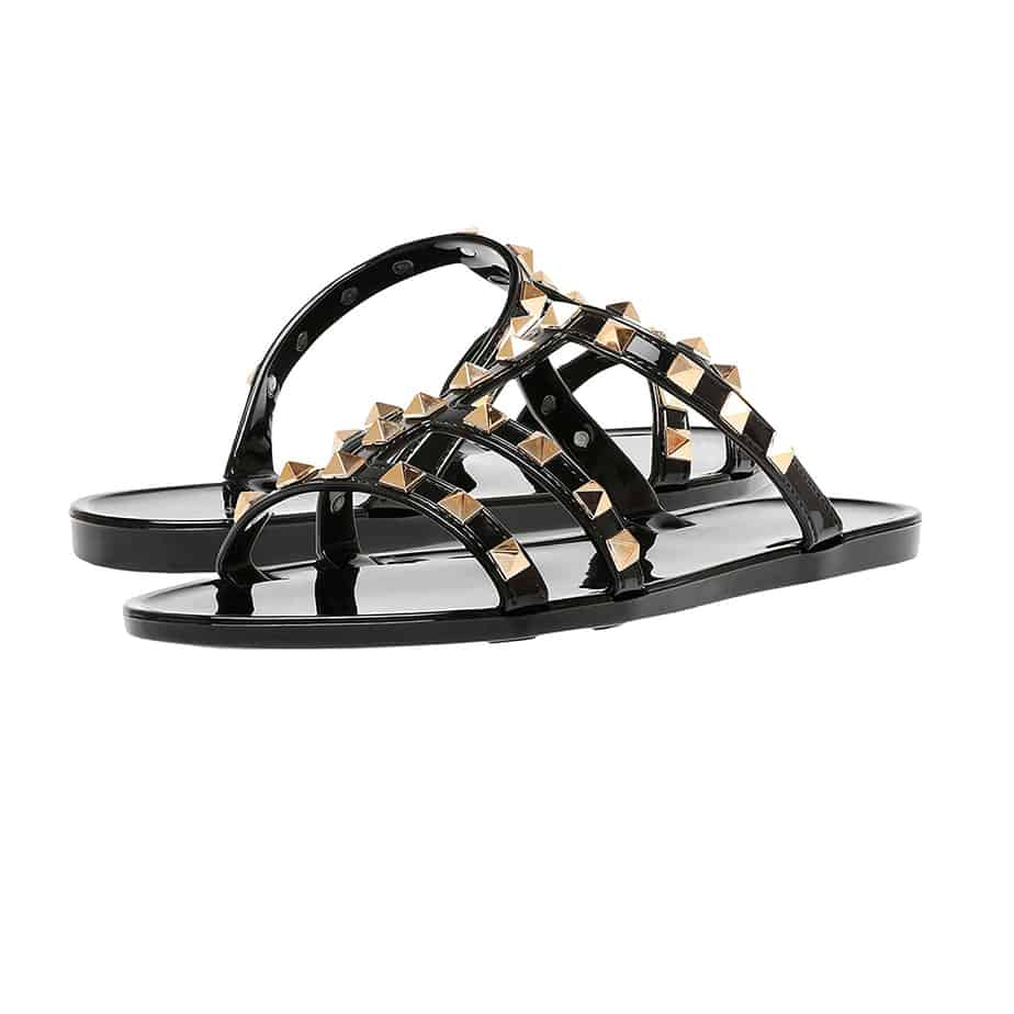 steve madden steer studded jelly sandal in black 82340