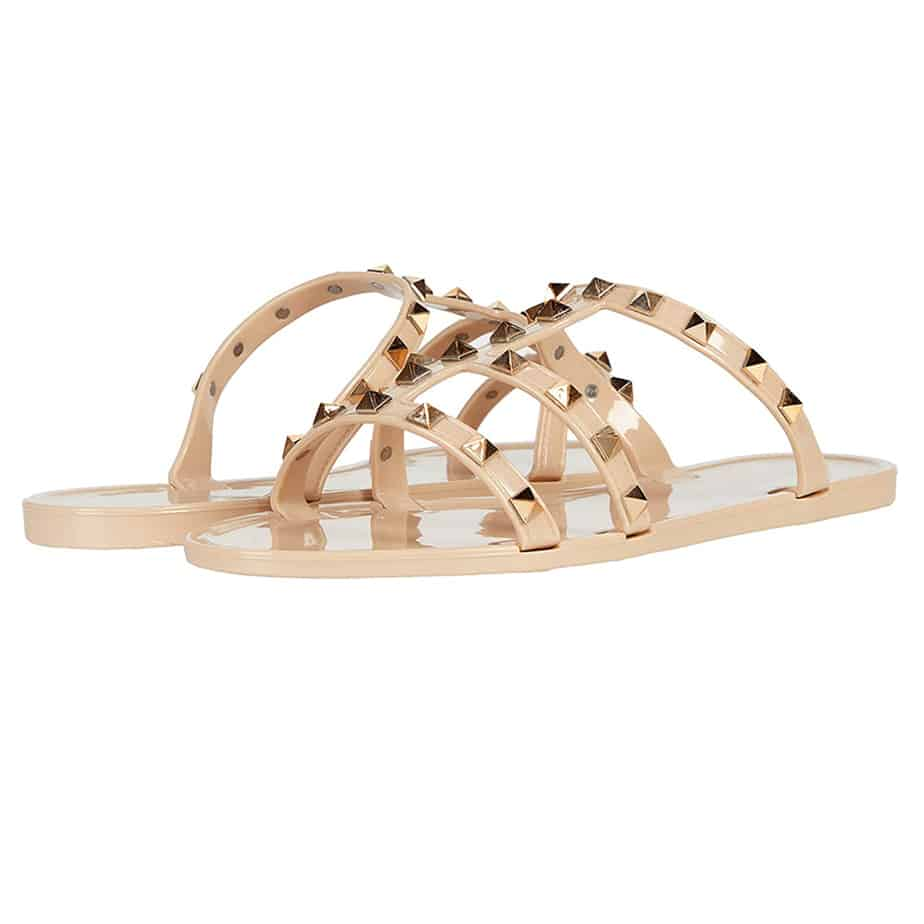 steve madden steer studded jelly sandal in natural 82341