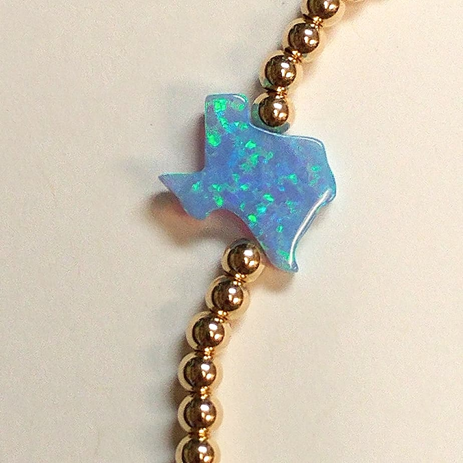 Stretchy Gold Bead Bracelet With Blue Opal Texas 70802