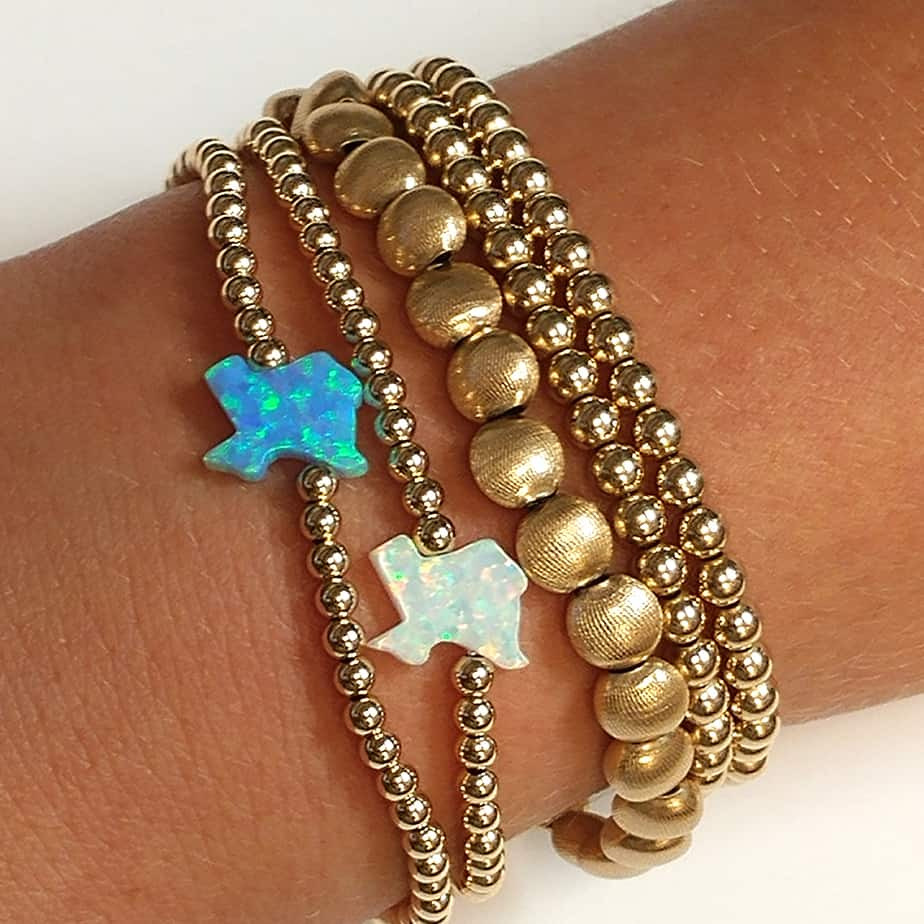 Stretchy Gold Bead Bracelet With White Opal Texas 70801