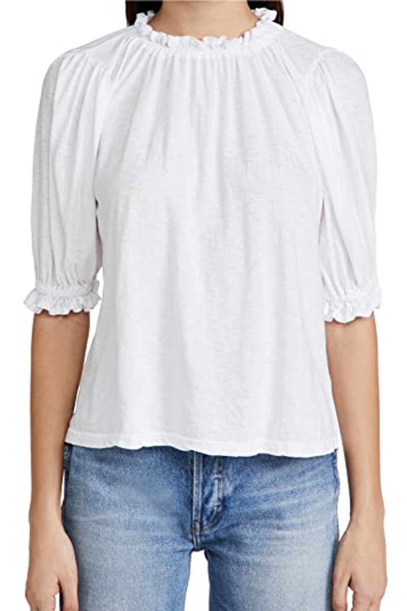 sundry 100 cotton bubble sleeve top in white 82126