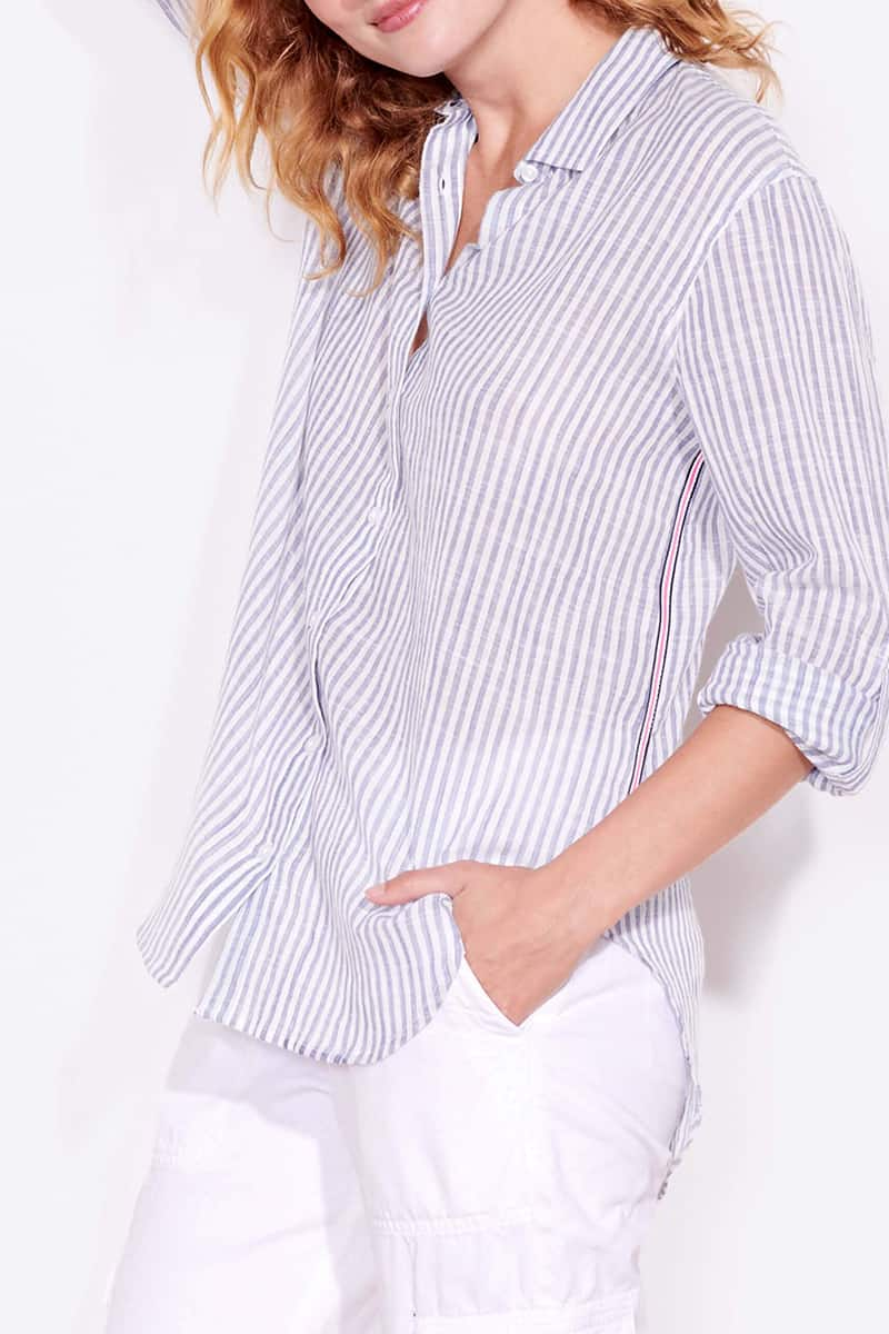 sundry 100 cotton oversized shirt in natural and blue stripe 83387