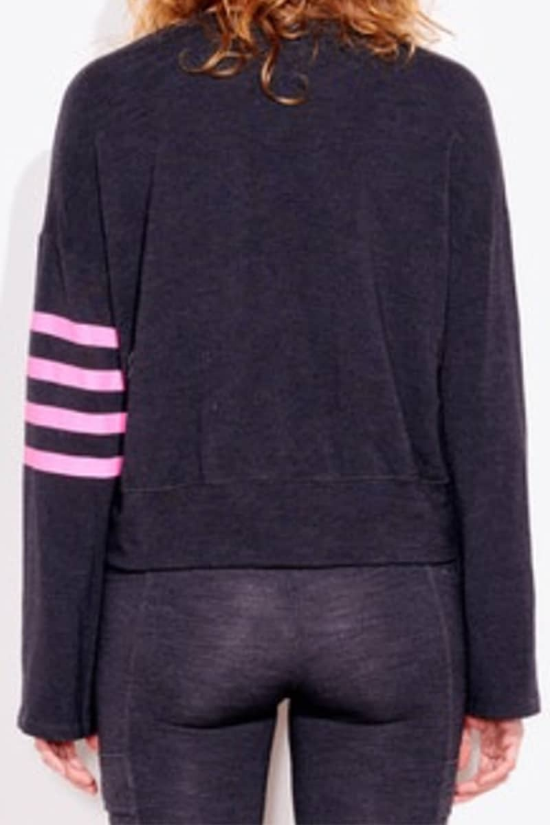 sundry arm stripes pullover in charcoal 92696