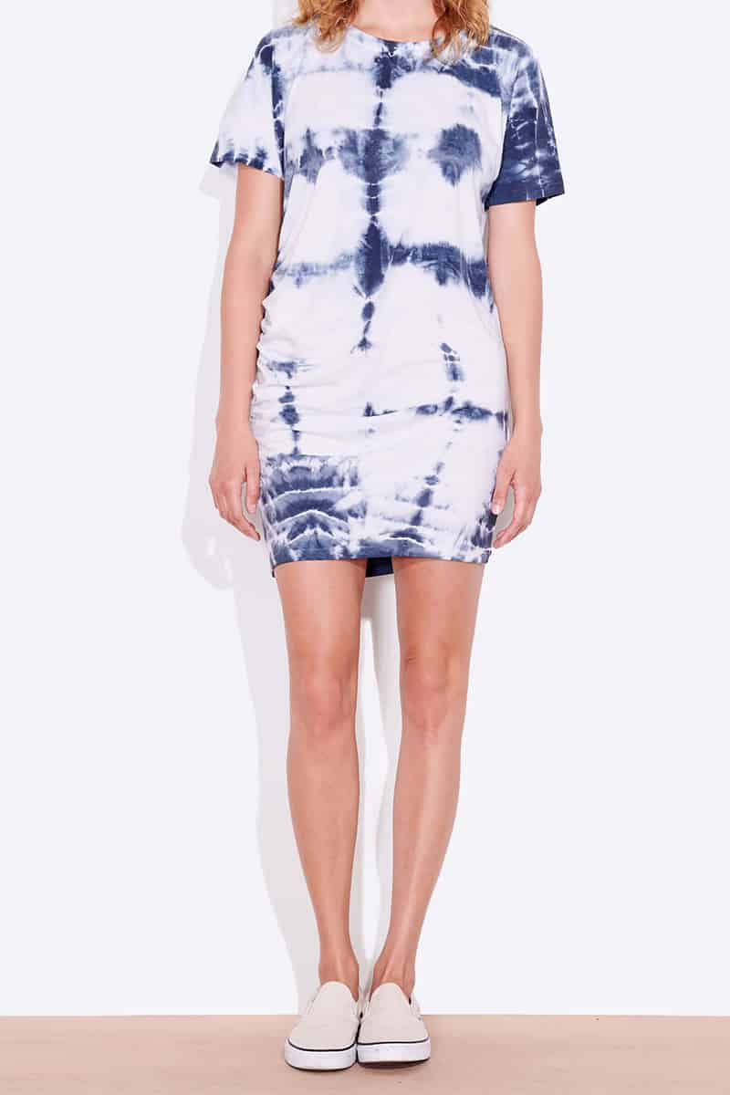 sundry side shirred tie dye dress in navywhite 82128