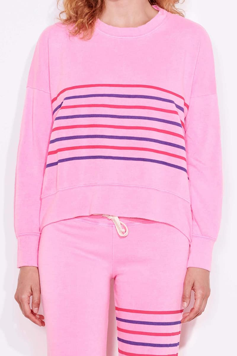 sundry stripes sweatshirt in pigment dyed pink neon 82127