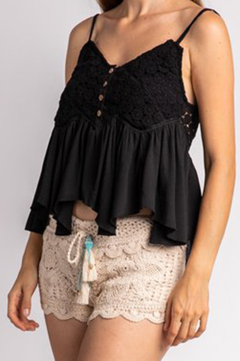 Surf Gypsy Crochet Swing Top In Black 66666