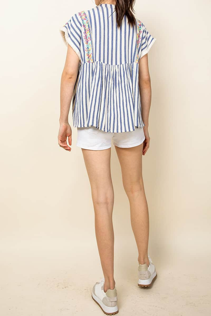 thml 100 cotton embroidered stripe top 83715
