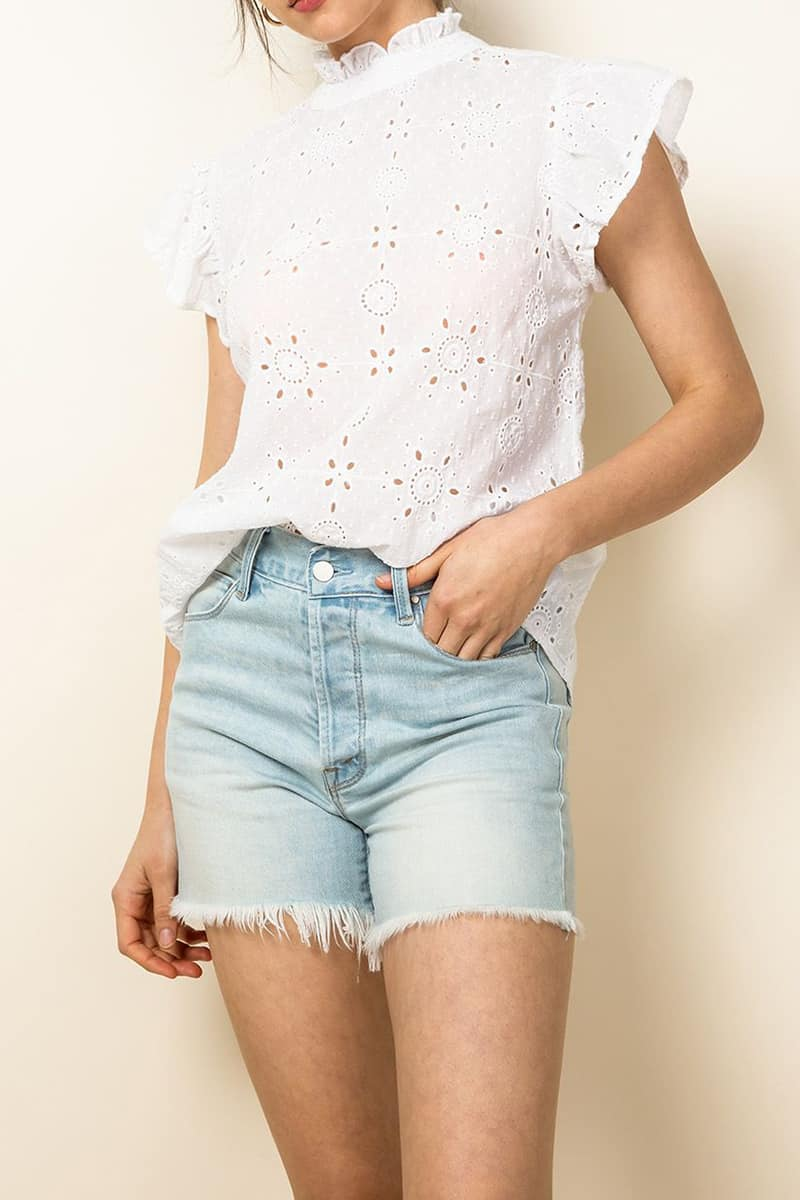 thml 100 cotton eyelet ruffle sleeve top in white 87991