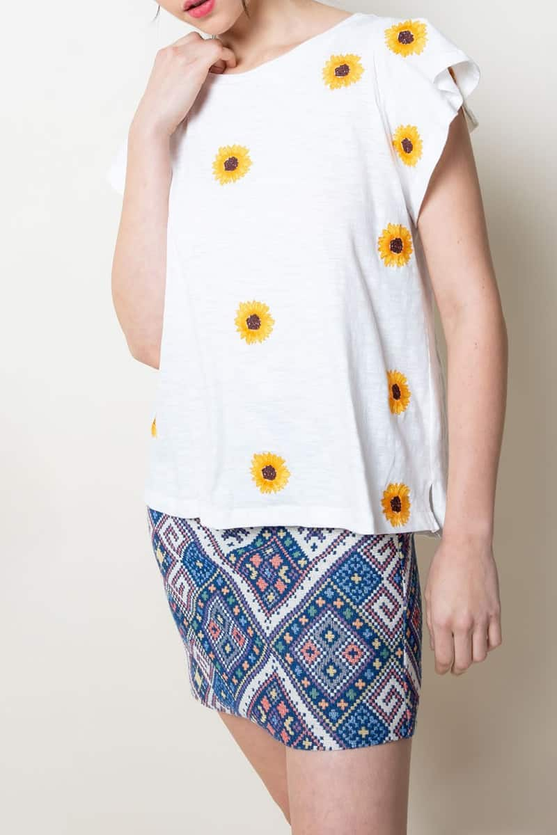Thml Daisy Tee In White 100 Cotton 61181