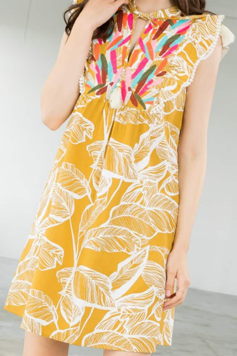thml embroidered leaf print in mustard 90557