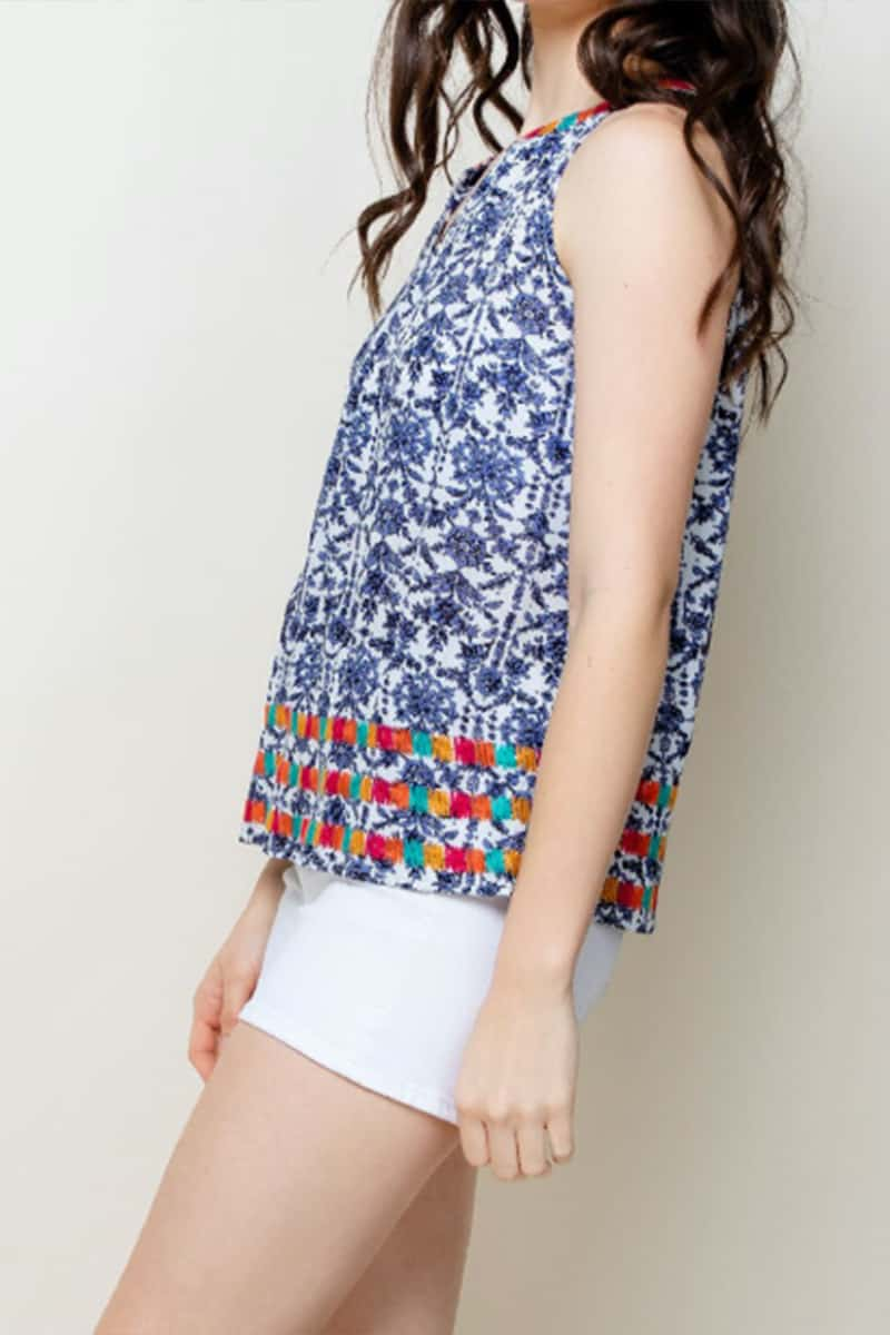 Thml Embroidered Print Top In Navy 67927