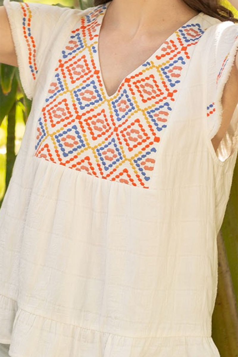 thml embroidered ruffle sleeve top in white 90617