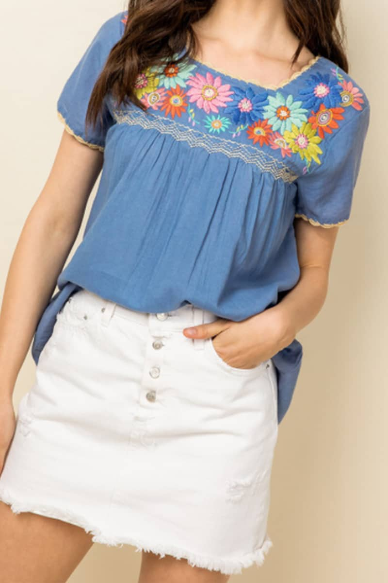 thml embroidered ss top in blue 89114