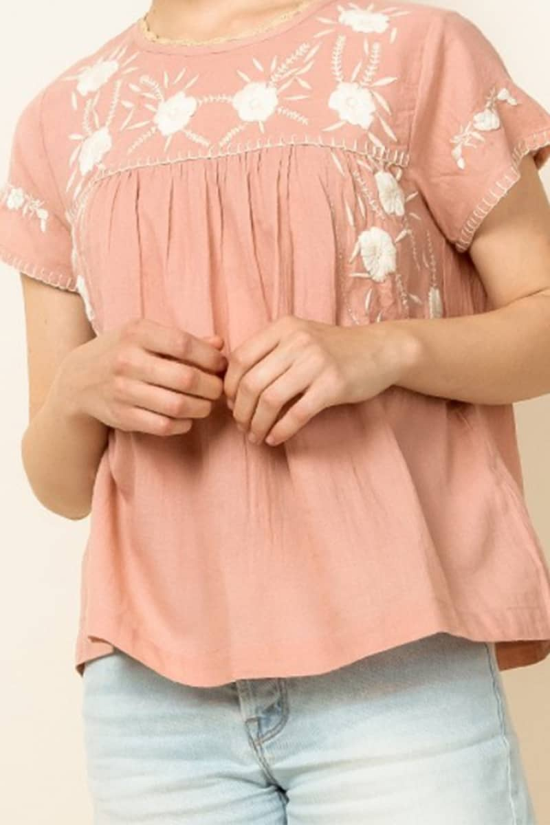 thml embroidered ss top in pink 88900