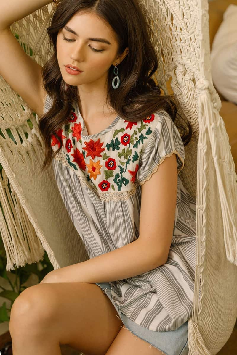 Thml Embroidered Stripe Top 61182