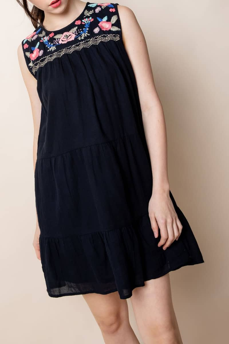 Thml Sleeveless Embroidered Dress In Black 61180