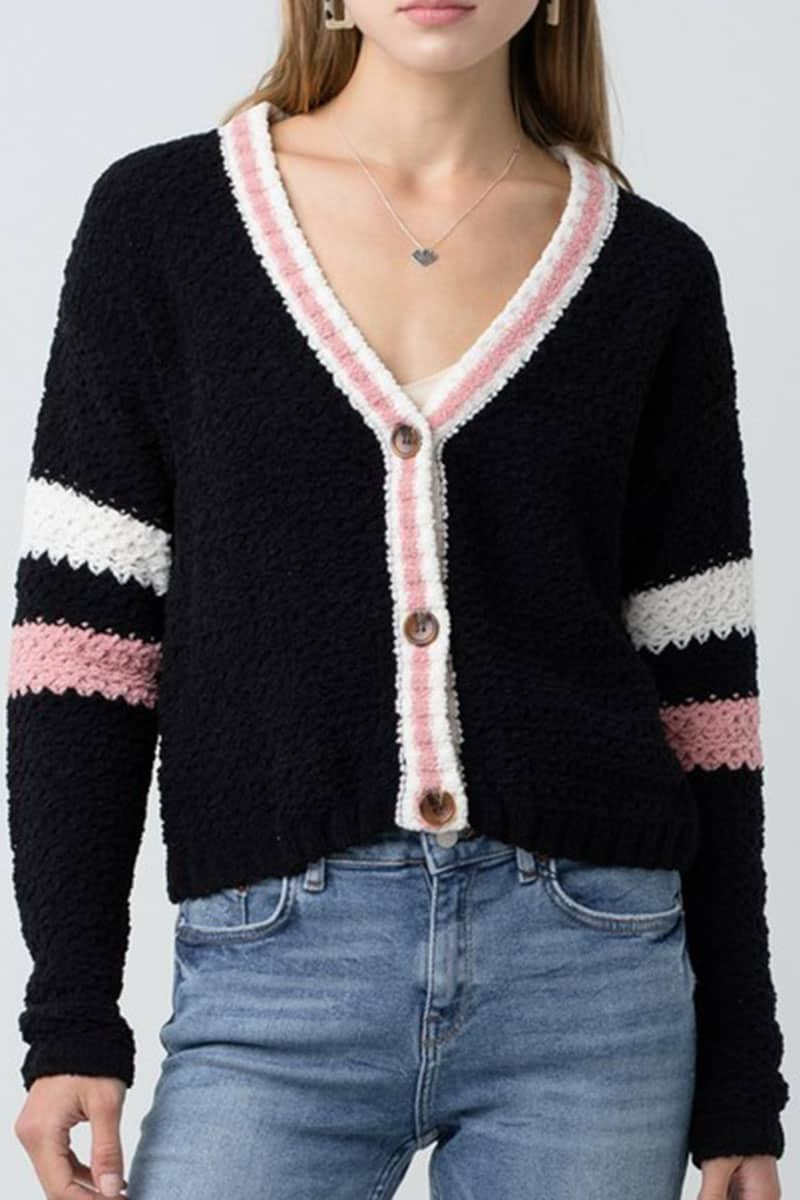 Varsity Sweater Cardigan In Black With Cream And Mauve Sleeve Stripes 70730