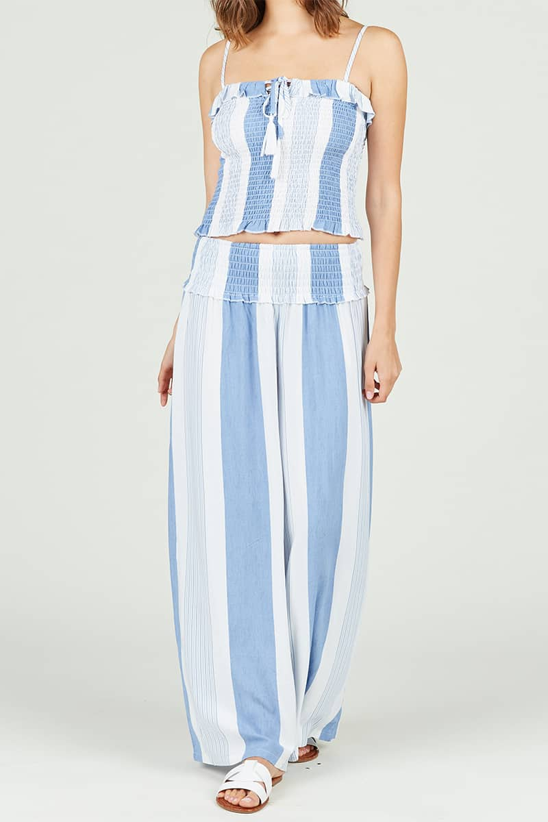 Vintage Havana Wide Leg Pant In Fiji Blue Stripe 68737