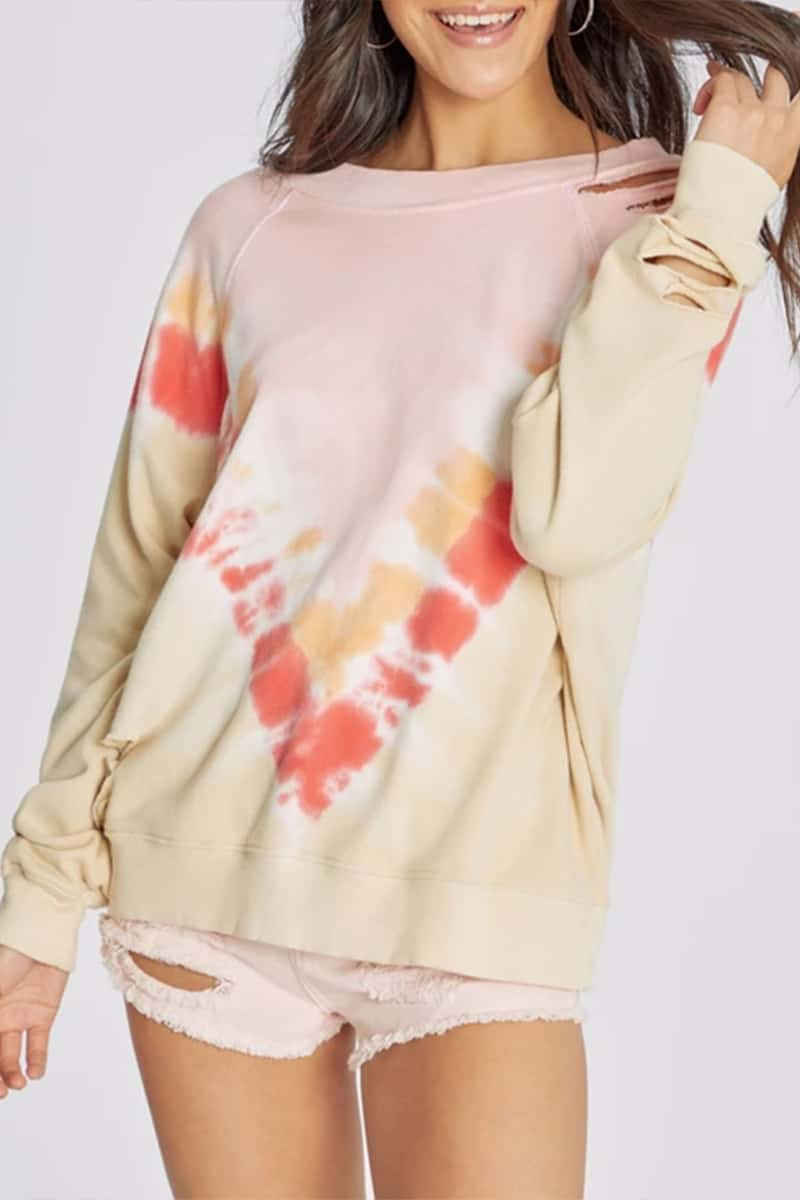 wildfox 100 cotton sommers grapefruit tie dye sweatshirt 82191