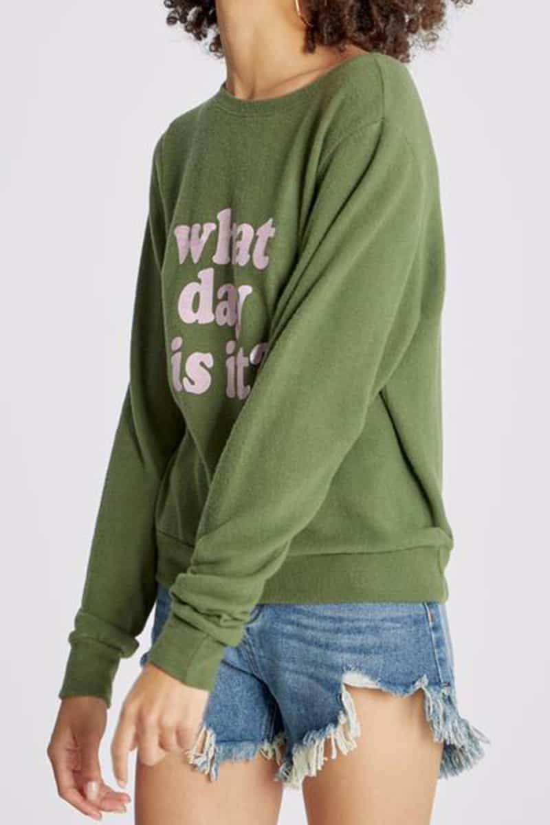 Wildfox What Day Is It Baggy Beach Jumper In Olive 70936