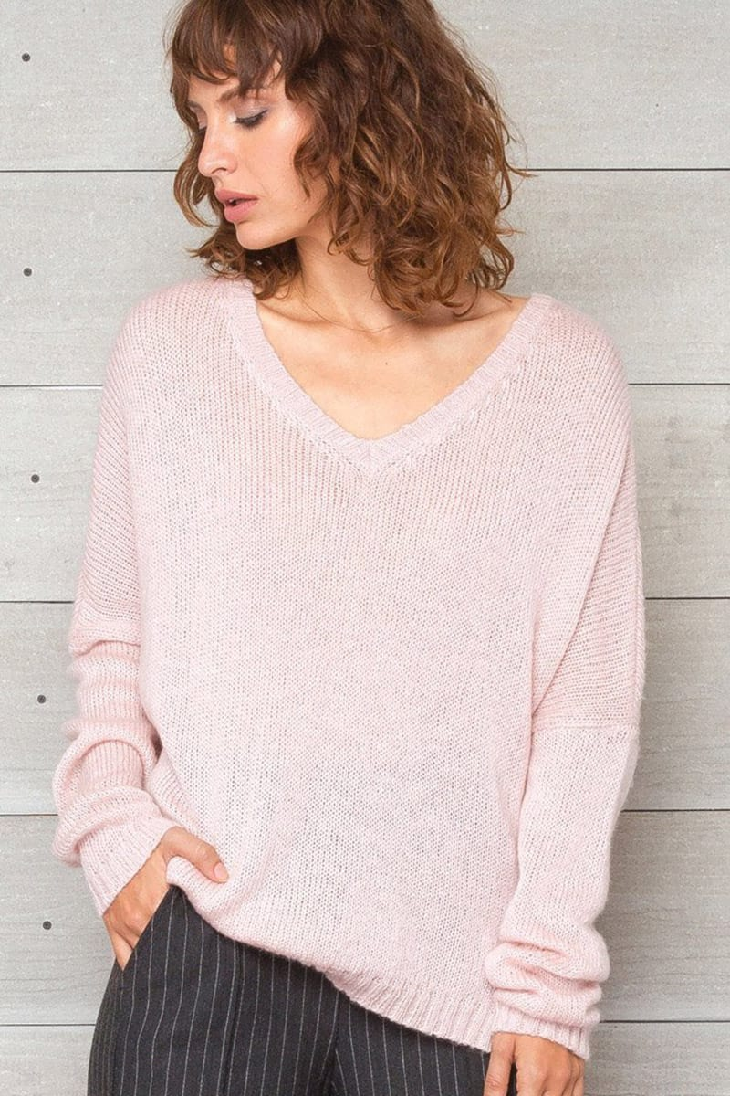 Wooden Ships Ansel Lightweight V Neck Sweater In Pout