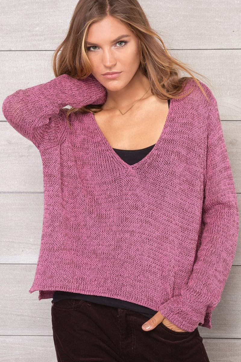 Wooden Ships Boxy V Neck Marled Cotton Sweater In Flora Berry And Dark Leather