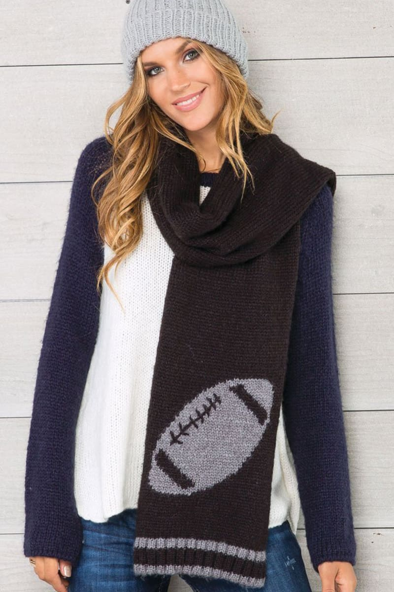 Wooden Ships Football Icon Scarf In Black And Gunmetal
