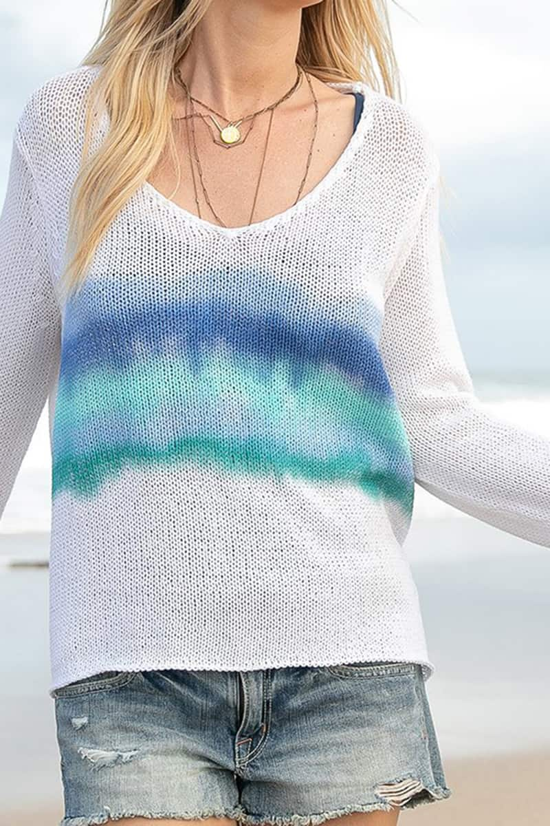 Wooden Ships Malibu V Cotton Sweater In Beach Sky Stripe 81197