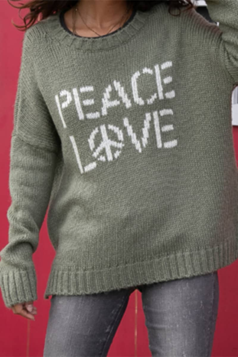 wooden ships peace love crew sweater in khakipure snow 96758