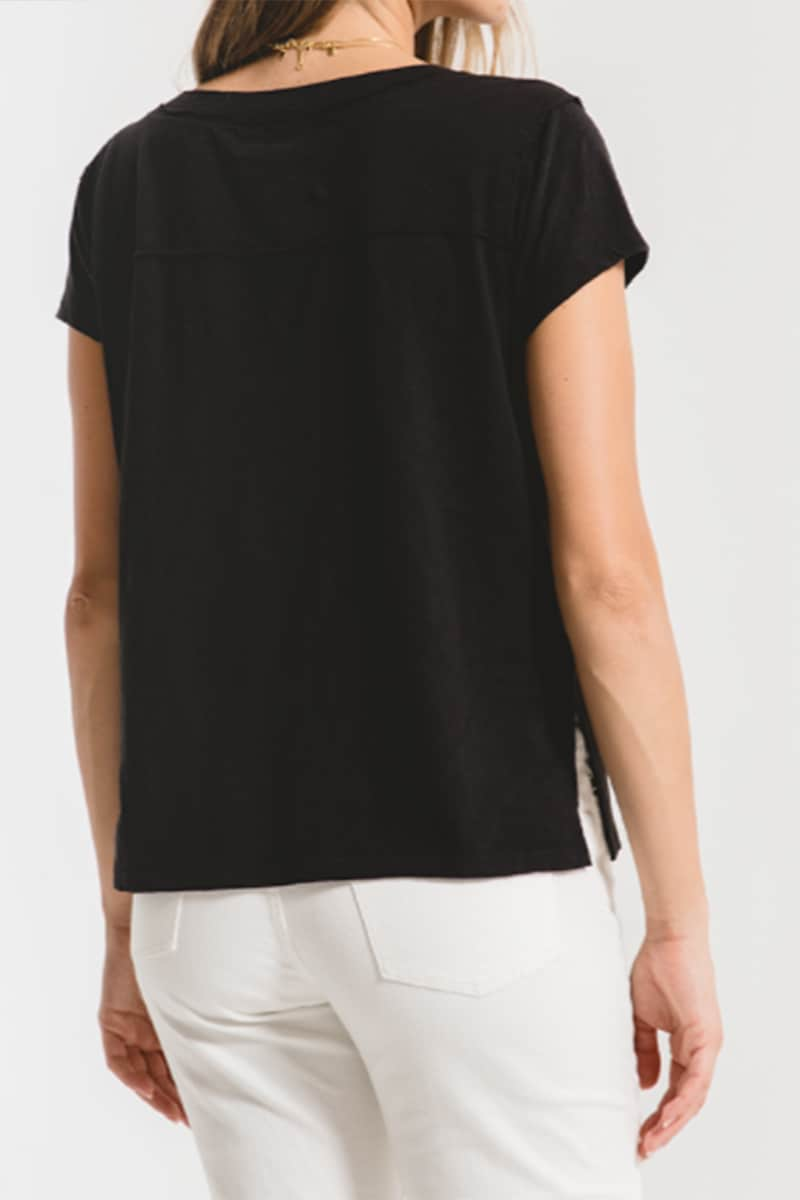 Z Supply 100 Cotton Easy Vneck Tee In Black 71283