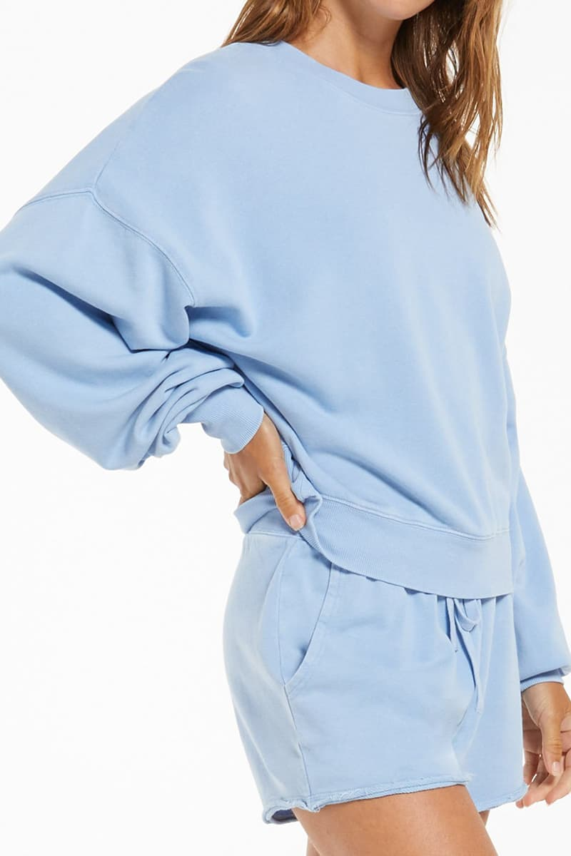 z supply 100 cotton lia washed ls perennial blue top 82400