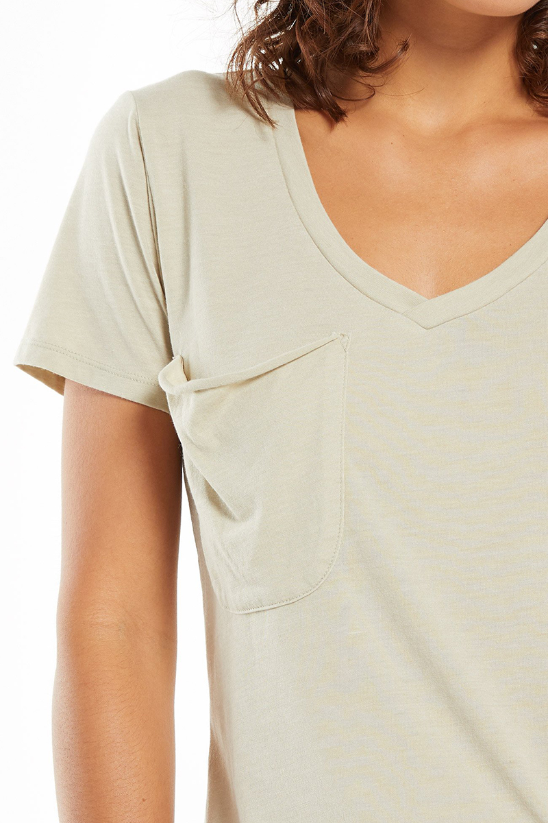 z supply 100 cotton pocket tee in green tea 86160