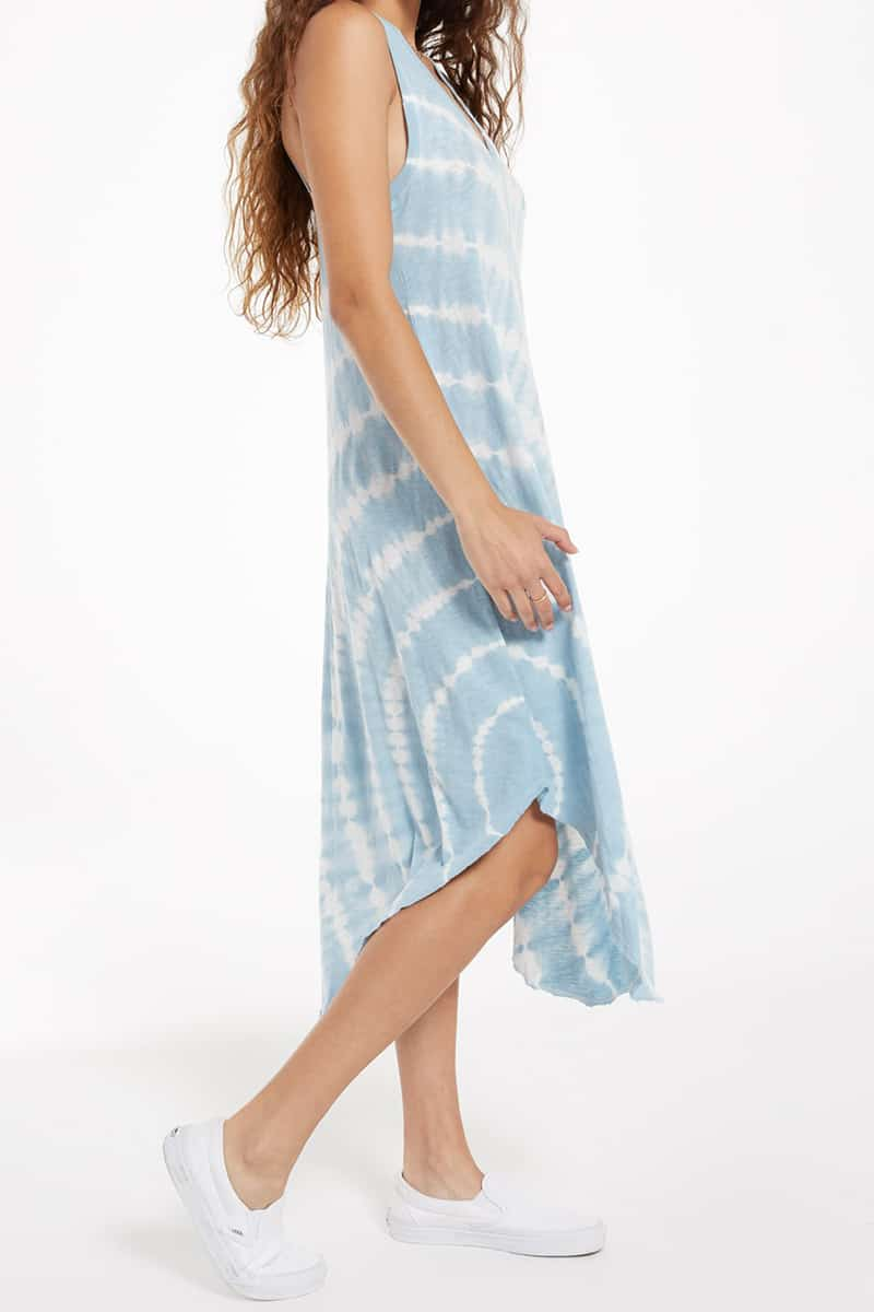 Z Supply 100 Cotton Reverie Tie Dye Blue Agave Dress 79649