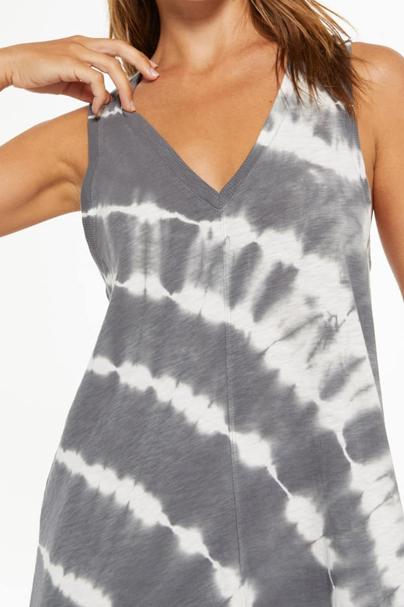 Z Supply 100 Cotton Reverie Tie Dye Charcoal Dress 79650
