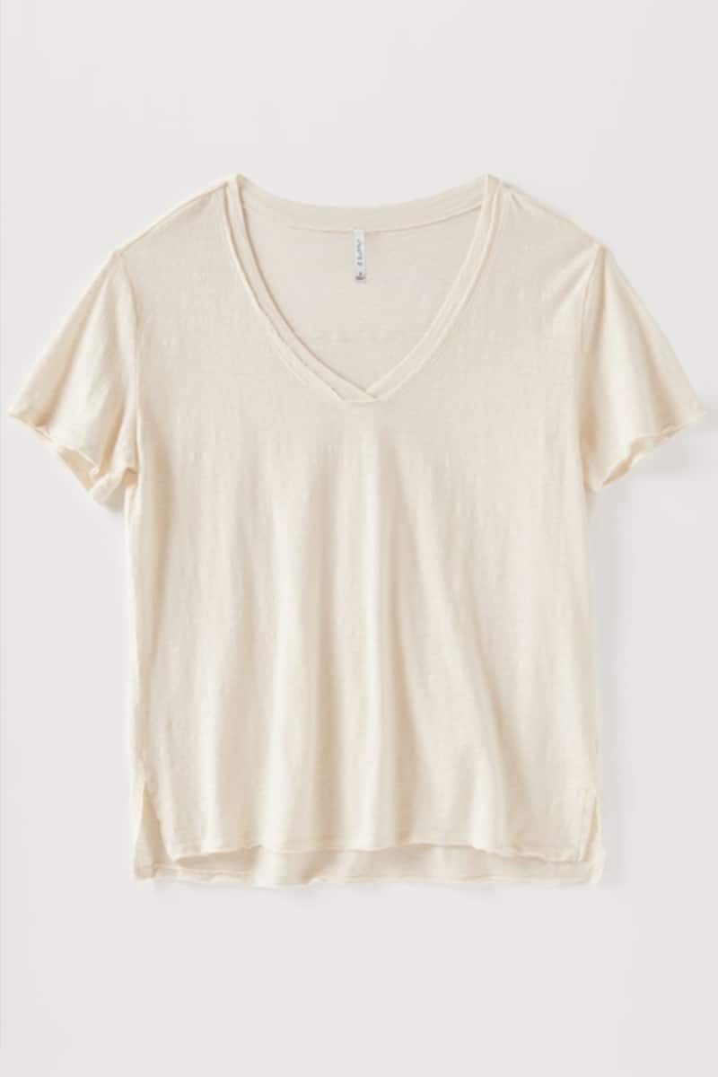 Z Supply 100 Cotton Slub Easy Vneck Haylee Tee In Gardenia 71286