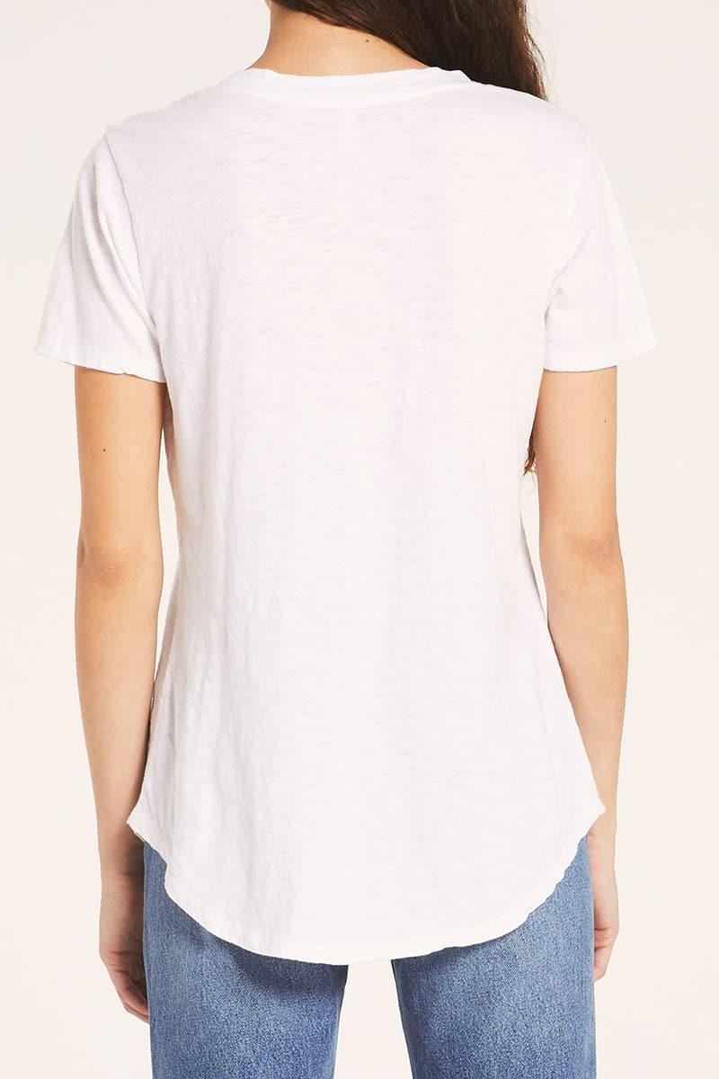 Z Supply 100 Cotton Slub Pocket Tee In White 81510