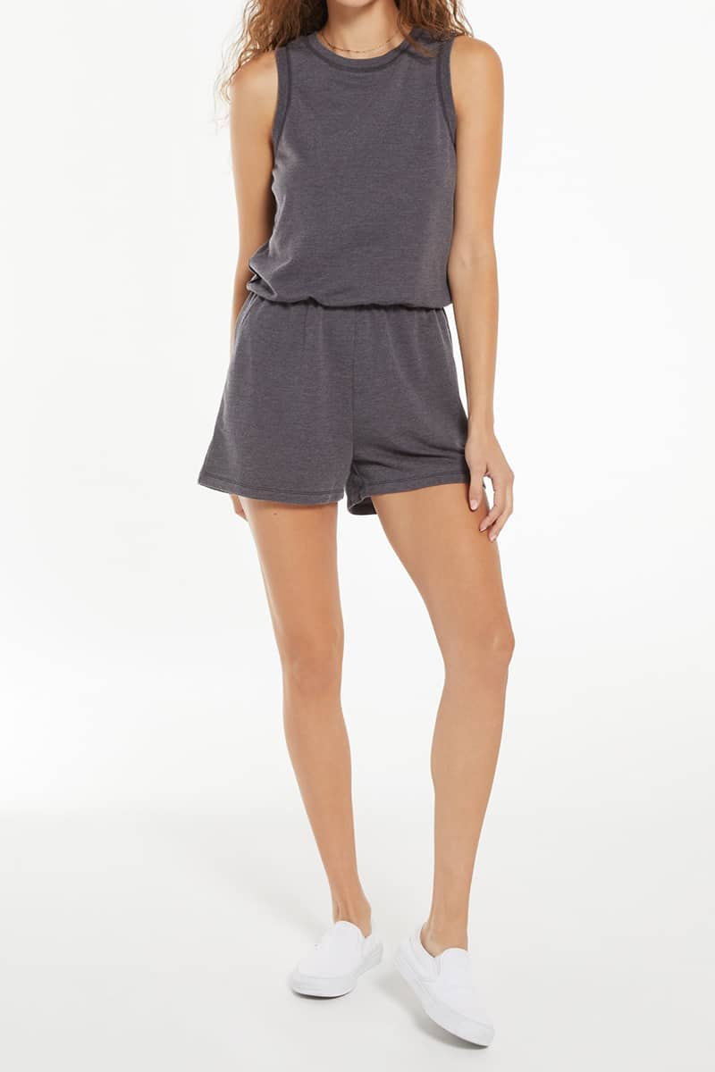 z supply adira terry romper in washed black 86673