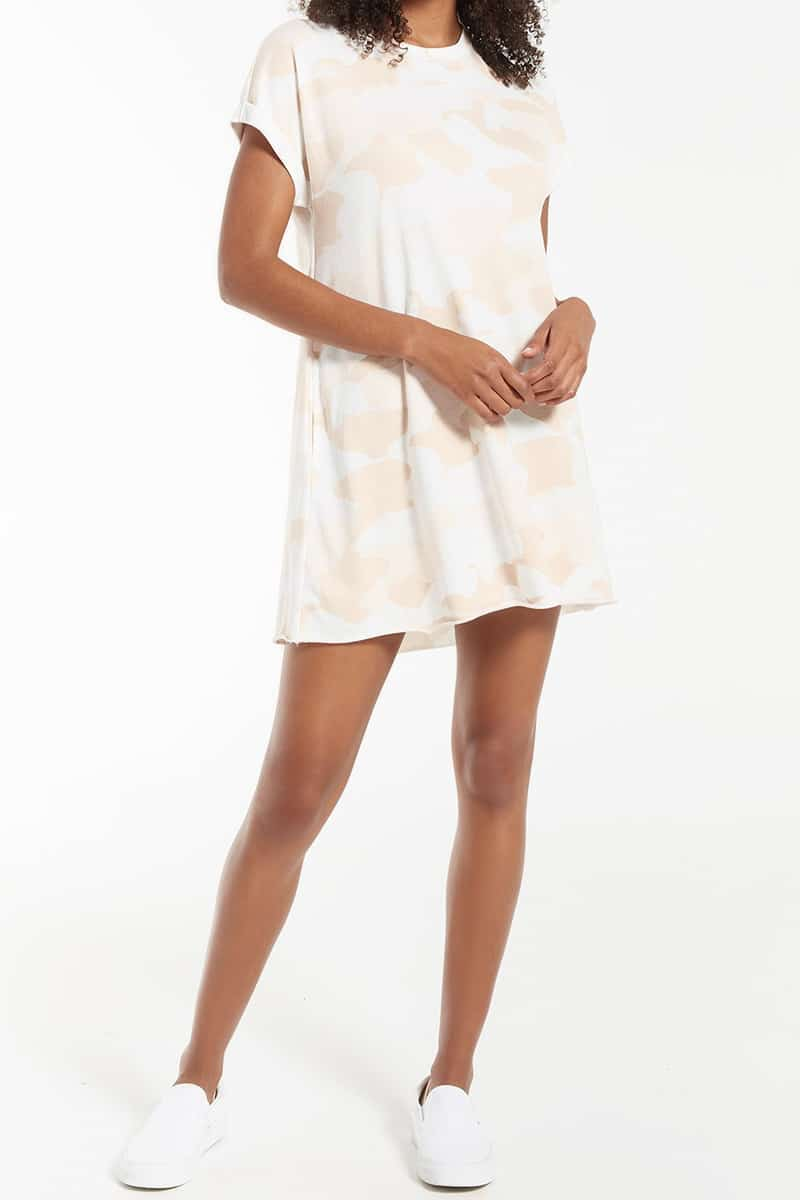 z supply agnes terry dress in camo sand storm 87477
