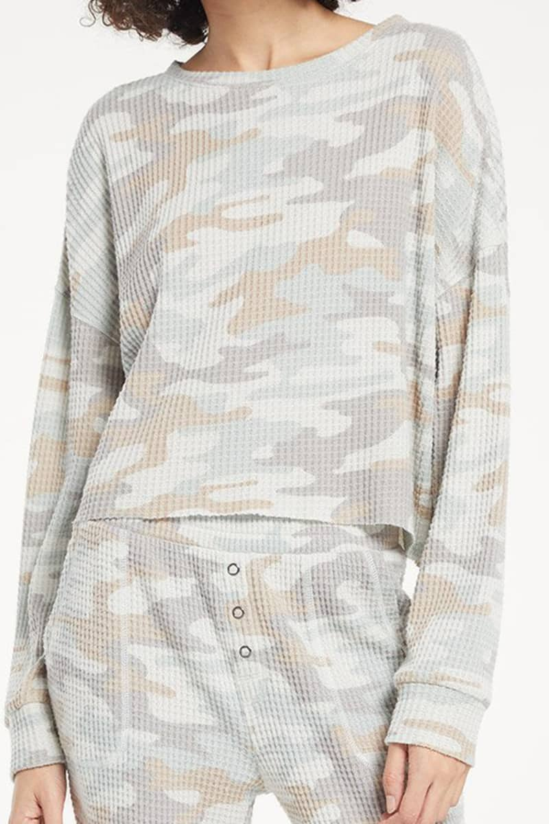 Z Supply Celine Ls Top In Camo Sage Mist 73143