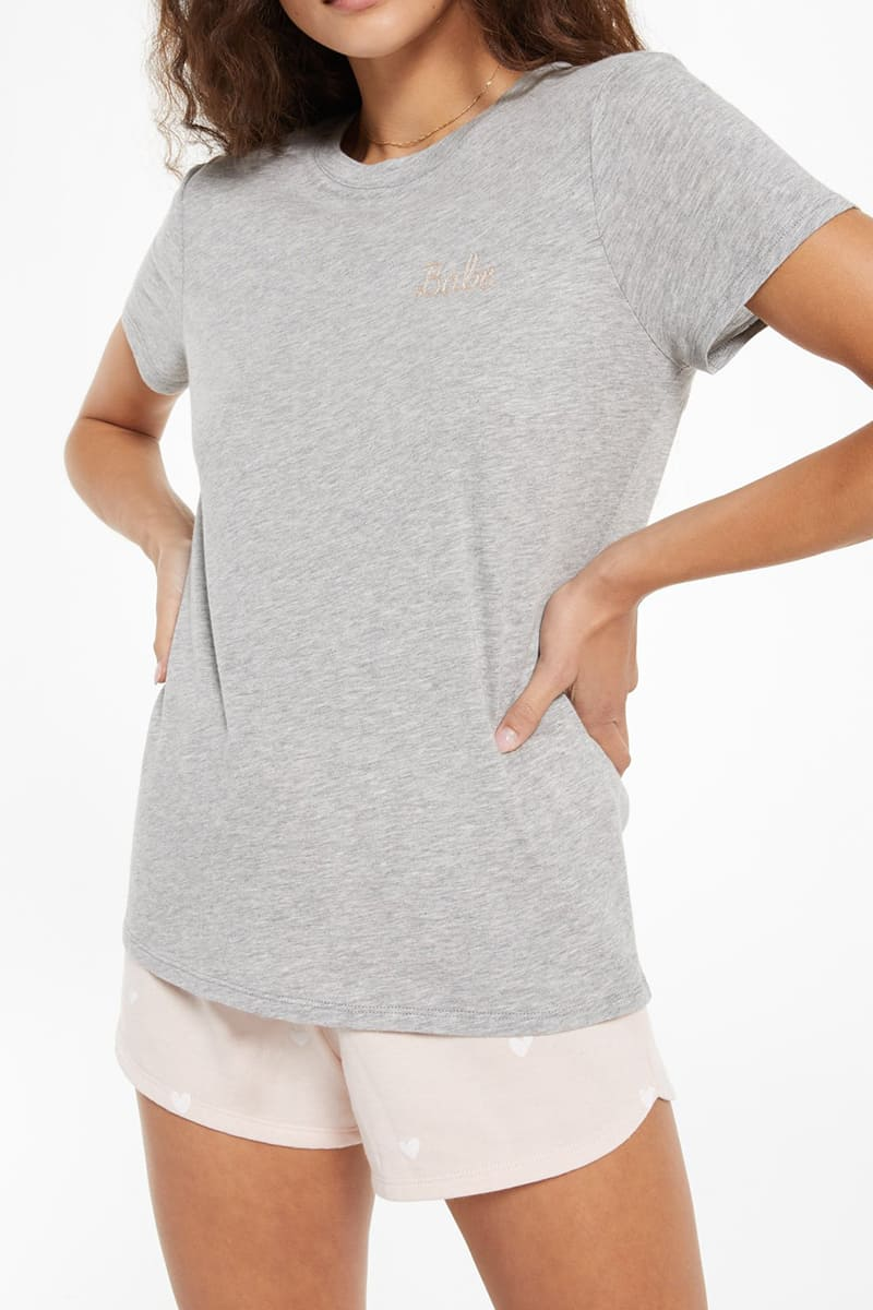 Z Supply Easy Babe Tee In Heather Grey 80978