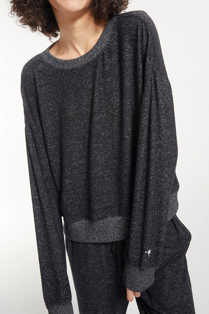 Z Supply Elle Marled Ls In Black 73142