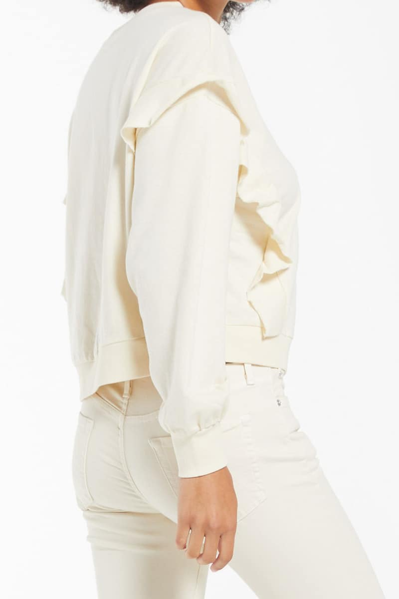 Z Supply Freya Ruffle Ls Top In Bone 79699