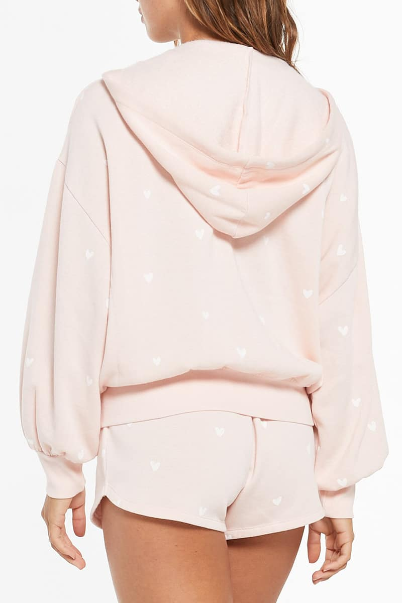 Z Supply Hearts Full Hoodie In Rose Quartz 80976