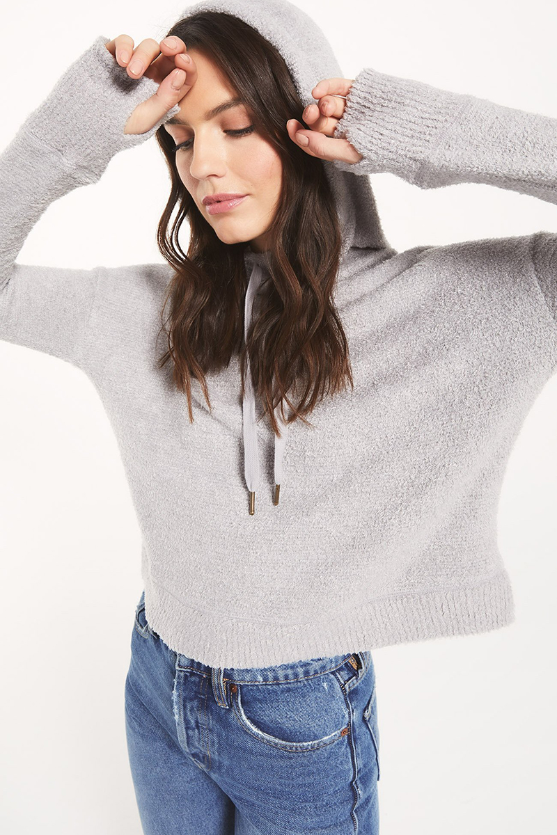 Z Supply Kacey Feather Hoodie In Heather Grey 75031