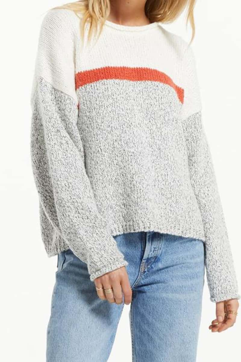 z supply kennedy color block sweater in pebble 94230